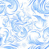 Blue sea wave. Seamless background texture