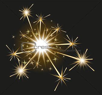 Fireworks sparkler on black background