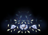 Fantastic blue flowers on a black base. EPS10 vector illustration