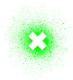 graffiti x mark spray design element in white on green