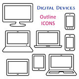 Black vector digital device outline icons