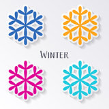 Colorful vector snowflake labels