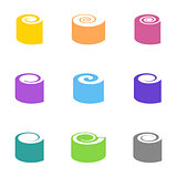 Colorful vector sushi icons