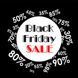 Vector illustration. Black Friday sales. Black poster.  Black banner.