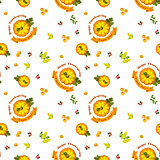 Vector Illustration. Thanksgiving seamless pattern with pumpkin