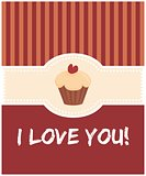 I love you valentines day vector card with cake
