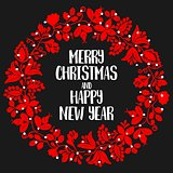 Merry Christmas and Happy New Year red and white vector card