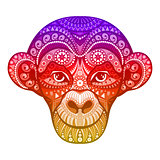 Vector red monkey. Symbol of New Year 2016. Head with ethnic motifs. Perfect for greeting card. EPS10.