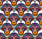 Seamless pattern background with monkeys. Symbol of 2016 year. Vector, colorful.