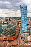 Aerial view of modern city in Warsaw, Poland