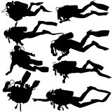 Set black silhouette scuba divers. Vector illustration.