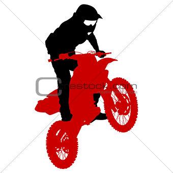 Rider participates motocross championship.  Vector illustration