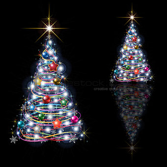 Abstract Christmas tree isolated on black