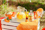 Orange picnic with oranges flowers
