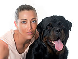 young woman and rottweiler