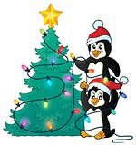 Penguins near Christmas tree theme 1