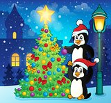 Penguins near Christmas tree theme 3