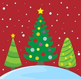 Stylized Christmas trees theme image 2