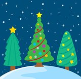 Stylized Christmas trees theme image 3