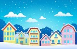 Stylized town in winter