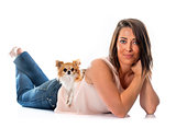young woman and chihuahua