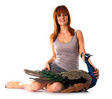 young woman and peacock