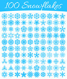 Set of 100 vector snowflakes