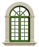 Classic arch window with stone frame