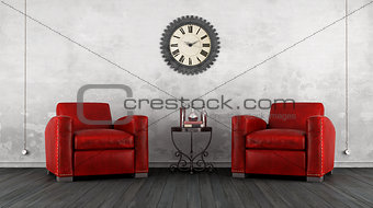 Classic living room with two armchair