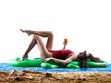 woman sea sunbathing holidays beach