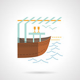 Boat market flat color vector icon