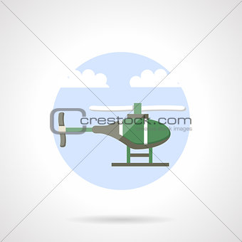 Green helicopter flat color vector icon
