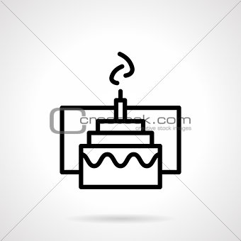 Cake with candle simple black line vector icon