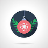 Red Xmas ball round flat vector icon