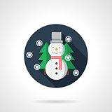 Snowman round flat vector icon