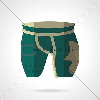 Green cycling shorts flat color vector icon