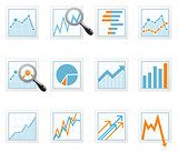Statistics and analytics data icons with diagrams