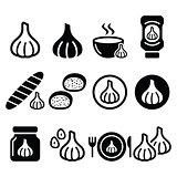 Garlic, food icons set - garlic sauce, soup and bread vector designs