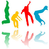 Colored children silhouettes jumping