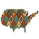 USA map patterned in native american texture
