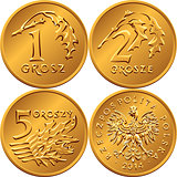 set Polish Money one, two and five groszy coin
