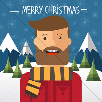 Christmas card with hipster male in flat style