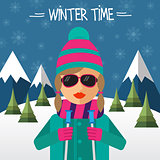 Hipster girl skier in flat style