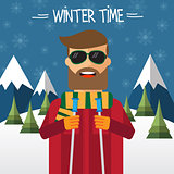 Hipster skier in flat style
