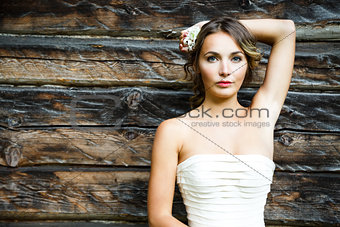 Beautiful Bride on Wooden Background