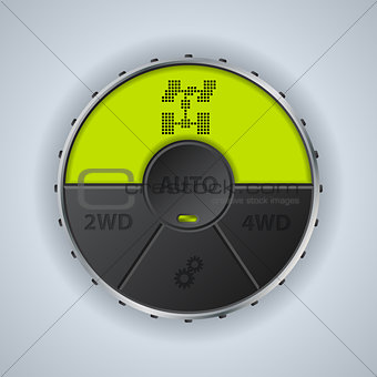 Green lcd display 4x4 settings gauge