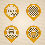 Flat style gps pointers with taxi elements