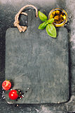 vintage cutting board and fresh ingredients