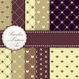 Romantic Seamless Pattern Background Set Vector Illustration