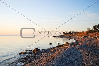 Calm bay in evening sun